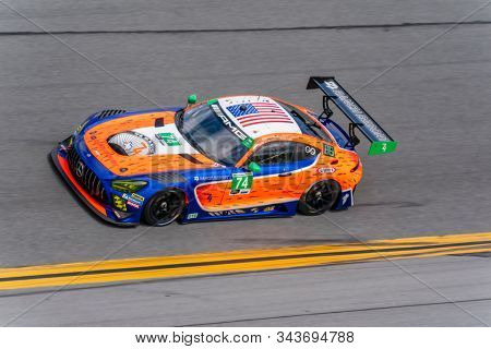 January 03, 2020 - Daytona Beach, Florida, USA: The Riley Motorsports Mercedes-AMG GT3 car practice for the Roar Before The Rolex 24 at Daytona International Speedway in Daytona Beach, Florida.