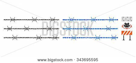 Barbwire Fence Composition Of Circle Elements In Various Sizes And Color Hues, Based On Barbwire Fen