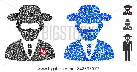 Kgb Spy Composition Of Spheric Dots In Various Sizes And Color Tints, Based On Kgb Spy Icon. Vector