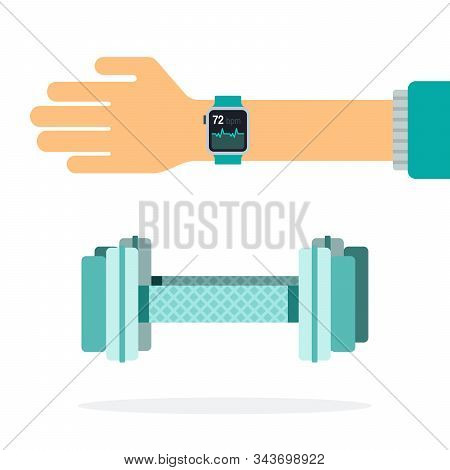 Fitness Dumbbells And Tracker With A Heart Rhythm On The Arm Flat Isolated
