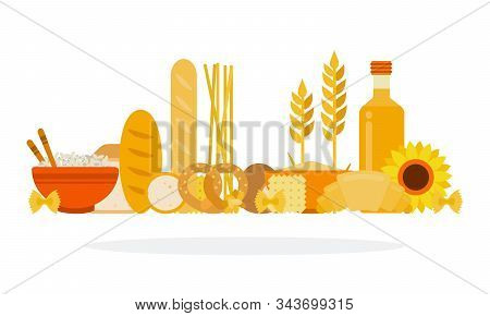 Bakery Products And Products Containing Carbohydrates Vector Flat Isolated