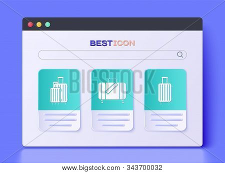 Set Suitcase For Travel And Stickers, Suitcase For Travel And Suitcase For Travel Icon. Vector