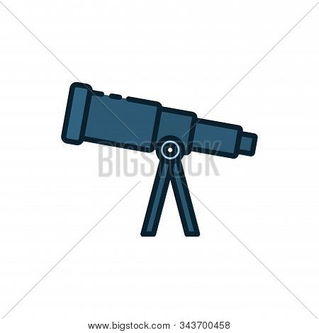 Telescope Icon Design, Science Discovery Observe Astronomy Sky Lens Instrument Space And Discover Th