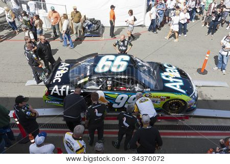 SONOMA, CA - JUN 24, 2012:  The Aflac Ford goes through inspection before the start of the Toyota Save Mart 350 at the Raceway at Sonoma in Sonoma, CA on June 24, 2012.