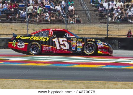 SONOMA, CA - JUN 24, 2012: Clint Bowyer (15) brings his car through the turns during the Toyota Save Mart 350 at the Raceway at Sonoma in Sonoma, CA on June 24, 2012.