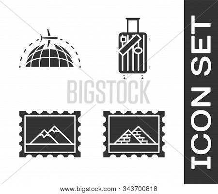 Set Postal Stamp And Egypt Pyramids, Globe With Flying Plane, Postal Stamp And Mountains And Suitcas