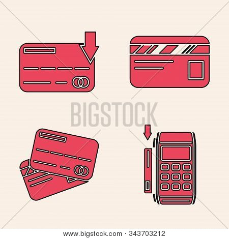 Set Pos Terminal With Inserted Credit Card, Credit Card, Credit Card And Credit Card Icon. Vector
