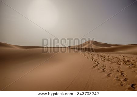 The Beauty Of The Sand Dunes In The Sahara Desert In Morocco. The Sahara Desert Is The Largest Hot D
