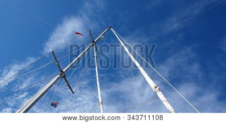 A Beautiful Nautical Sky Cloudscape Scene, Over A Yacht Mast And Rigging, With White Stratocumulus C