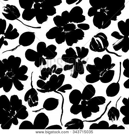 Abstract Blooming Ink Vector Seamless Pattern. Japanese Style Grunge Flowers Black And White Texture
