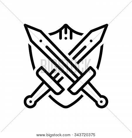 Black Line Icon For Battle-gear Battle Gear Sword Weapon Tool  Broadsword