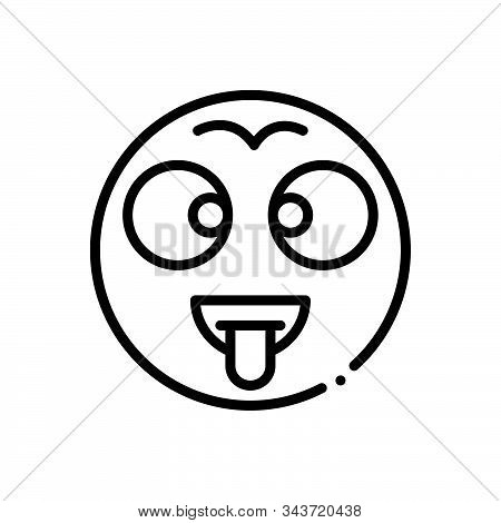 Black Line Icon For Batty Dippy Demented Mad Loopy Moonstruck Crazed