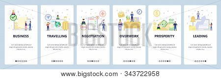 Business Icons, Office Desk, Overtime Pay, Travel. Mobile App Onboarding Screens. Menu Vector Banner