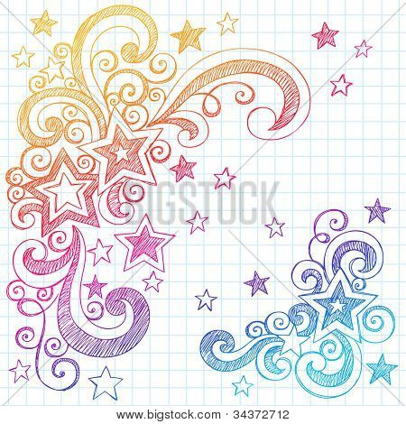 Shooting Stars and Swirls Back to School Notebook Doodles- Hand-Drawn Sketchy Vector Illustration Design Elements on Lined Sketchbook Paper Background