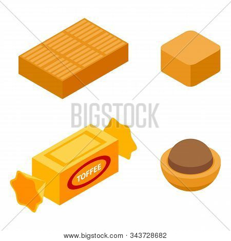 Toffee Icons Set. Isometric Set Of Toffee Vector Icons For Web Design Isolated On White Background
