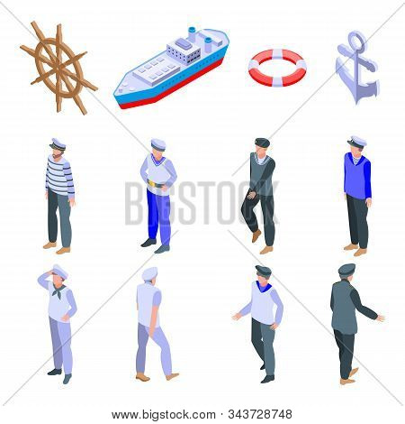 Sailor Icons Set. Isometric Set Of Sailor Vector Icons For Web Design Isolated On White Background