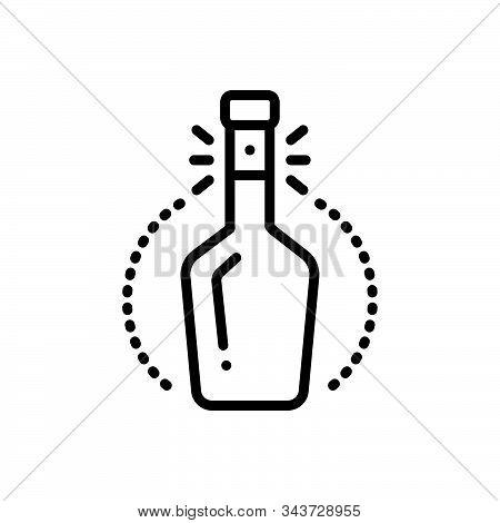 Black Line Icon For Bottleneck Spout Alcohol Beverage