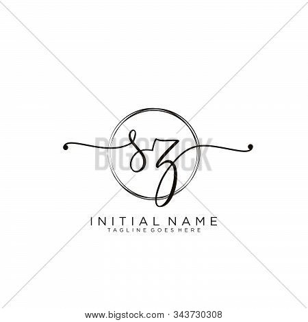 Sz Initial Handwriting Logo With Circle Template Vector.