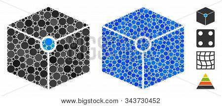 Cube Vertex Composition Of Small Circles In Different Sizes And Shades, Based On Cube Vertex Icon. V