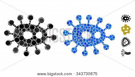 Microbe Composition Of Round Dots In Various Sizes And Color Tones, Based On Microbe Icon. Vector Ro