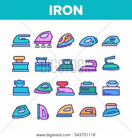 Iron Electrical Tool Collection Icons Set Vector Thin Line. Vintage And Modern Iron Device Appliance