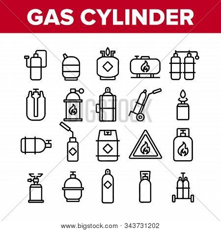 Gas Cylinder Equipment Collection Icons Set Vector Thin Line. Gas Cylinder, Container With Flame Mar