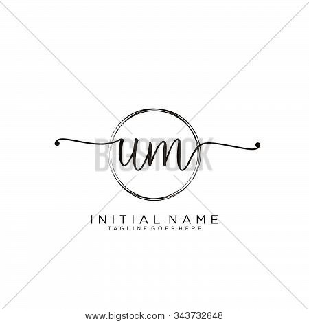 Um Initial Handwriting Logo With Circle Template Vector.