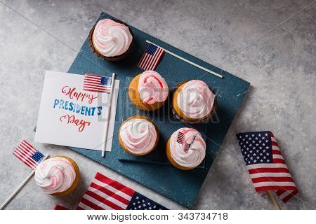 Word Happy Presidents Day, February 17. Patriotic Baking Supply Cup Cake Holders For Holiday And Jul