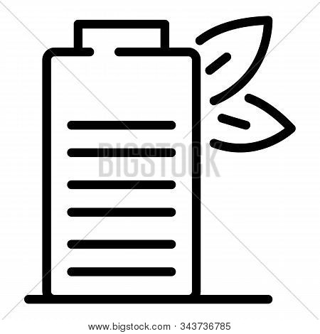 Eco Battery Icon. Outline Eco Battery Vector Icon For Web Design Isolated On White Background