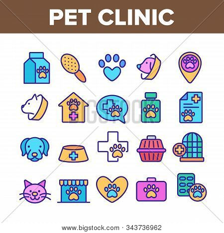 Pet Clinic Veterinary Collection Icons Set Vector Thin Line. Dog Paw On Heart And Medical Cross, Bir