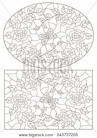 Set Of Contour Illustrations Of Stained Glass Windows With Roses  And Butterflies , Oval And Rectang