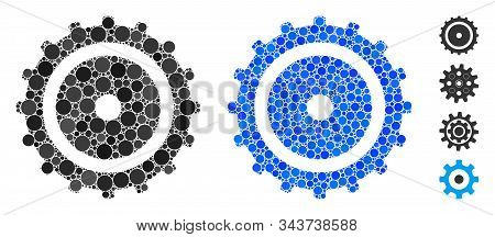 Cog Wheel Composition Of Round Dots In Variable Sizes And Shades, Based On Cog Wheel Icon. Vector Fi