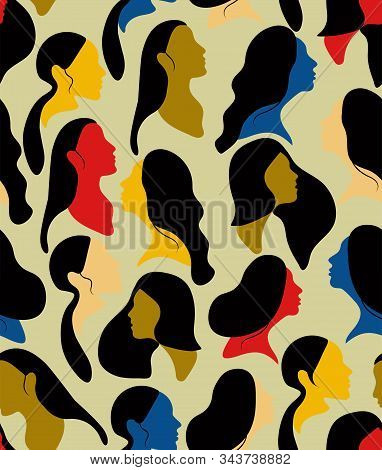 International Womens Day. Vector Seamless Pattern With Women Colorful Faces. Flat Illustration With