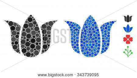 Tulip Flower Mosaic Of Round Dots In Different Sizes And Color Tints, Based On Tulip Flower Icon. Ve