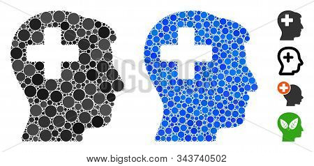 Plus Man Head Mosaic Of Round Dots In Various Sizes And Color Hues, Based On Plus Man Head Icon. Vec