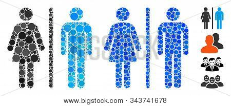 Wc Persons Composition Of Round Dots In Various Sizes And Color Hues, Based On Wc Persons Icon. Vect