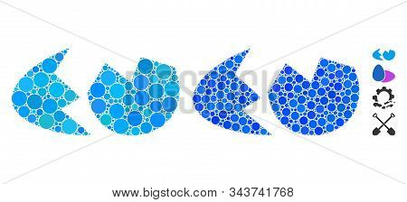 Eggshell Mosaic Of Filled Circles In Various Sizes And Shades, Based On Eggshell Icon. Vector Small