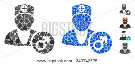 Urology Doctor Mosaic Of Round Dots In Different Sizes And Shades, Based On Urology Doctor Icon. Vec