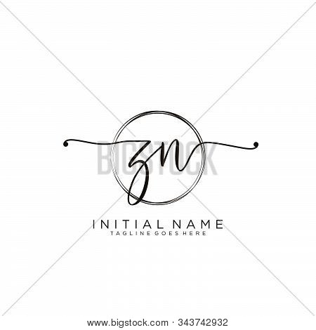 Zn Initial Handwriting Logo With Circle Template Vector.