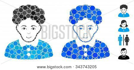 Brunette Woman Composition Of Round Dots In Various Sizes And Color Hues, Based On Brunette Woman Ic