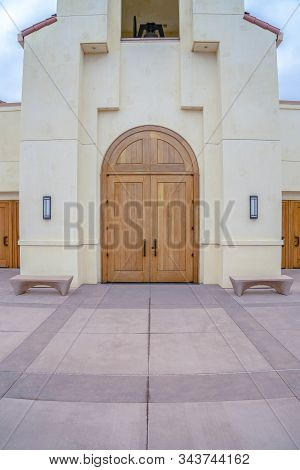 Double Wooden Entrance Doors To A Church