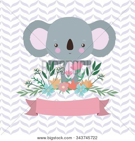 Cute Koala Cartoon And Ribbon Design, Animal Zoo Life Nature Character Childhood And Adorable Theme