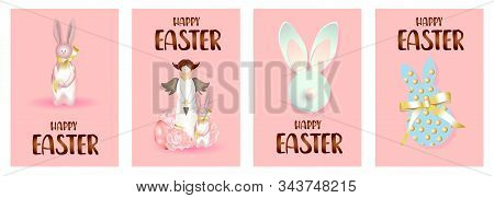 Set Of Easter Holiday Gift Cards. Easter Banners, Web Posters, Flyers And Brochures, Greeting Cards,