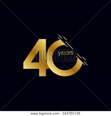 40 Years Anniversary Celebration Gold Vector Template Design Illustration
