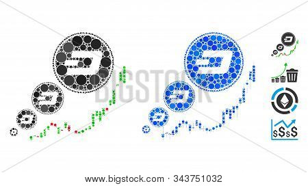 Dashcoin Inflation Chart Mosaic Of Spheric Dots In Different Sizes And Shades, Based On Dashcoin Inf