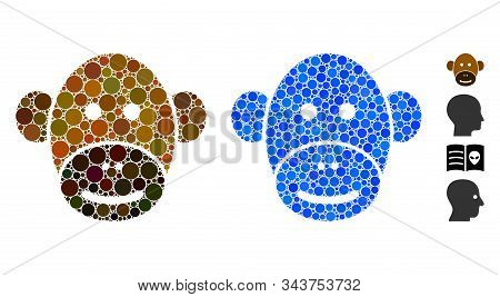 Monkey Face Mosaic Of Spheric Dots In Various Sizes And Color Tinges, Based On Monkey Face Icon. Vec