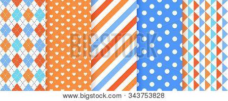Scrapbook Background. Seamless Pattern. Vector. Cute Scrap Design. Textures With Stripe, Polka Dot,
