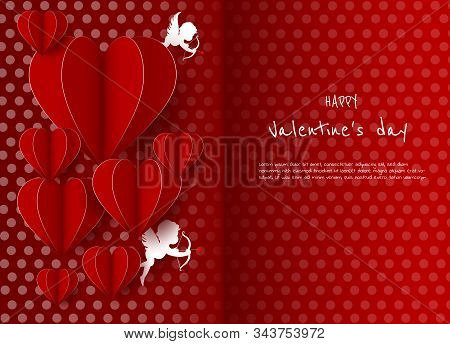 Happy Valentines Day card with hearts, doves, cupids and place for your text vector illustration. Valentines day background. Valentine, valentine day, Valentines Day background, Valentine's day banners, Valentines Day flyer, Valentines Day design, Valenti