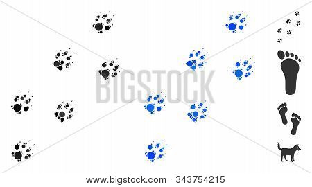 Wolf Track Mosaic Of Round Dots In Various Sizes And Color Tinges, Based On Wolf Track Icon. Vector