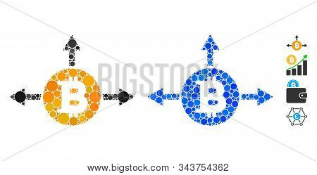 Bitcoin Variant Directions Composition Of Filled Circles In Variable Sizes And Color Tints, Based On